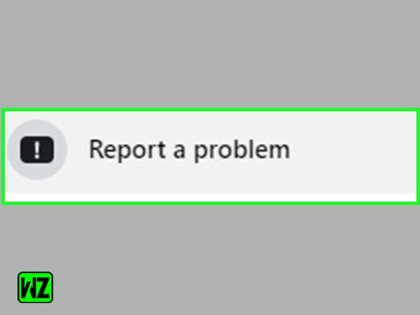 Go to Report a Problem option